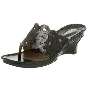 CLARKS Facet Wedge Brown Leather Sandal 8
